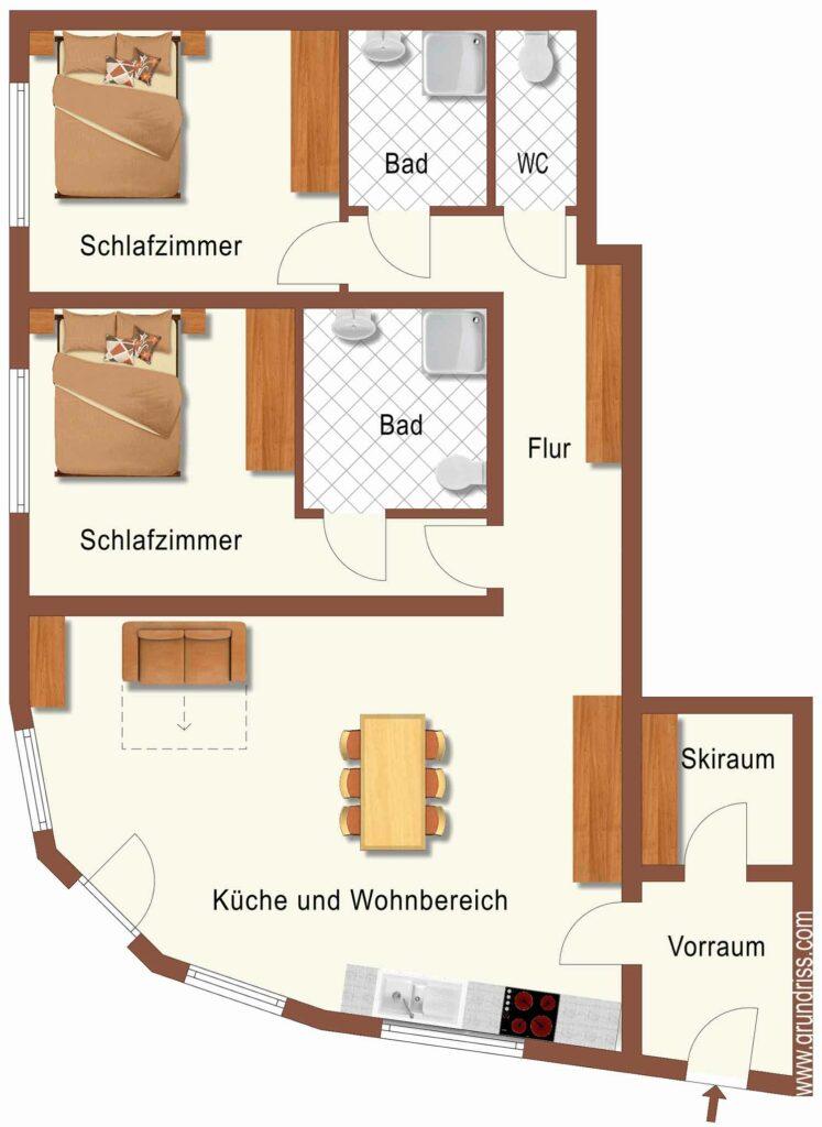 Grundriss Apartment Fischbacher